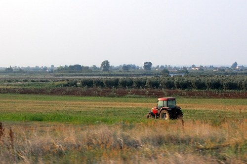 Tractor in rural area