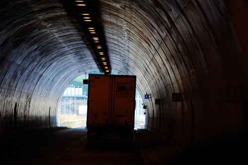 Truck in tunnel