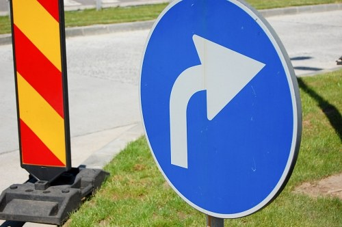 Turn sign on  a highway