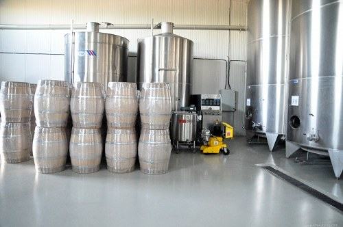 Vineyard barrels and storage tanks
