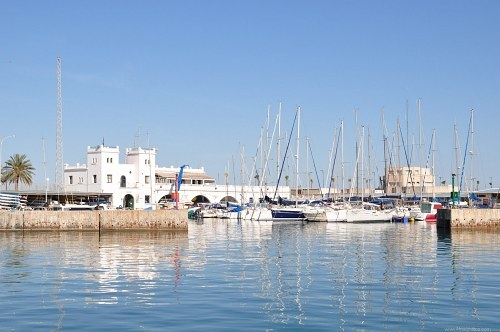 White building in port