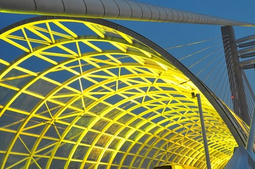 Yellow light on arch