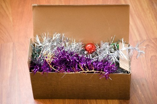Box of Cristmas decorations