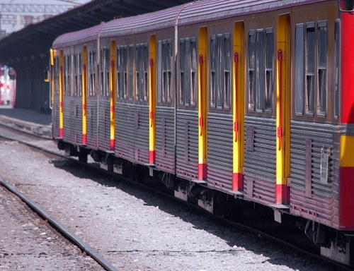 Brightly colored train wagons