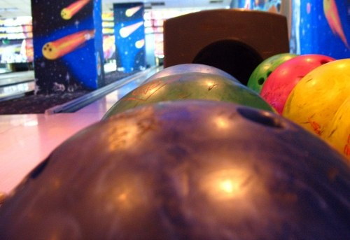 Colored bowling balls