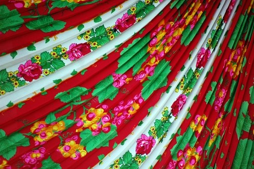 Colorfull textile with fringes