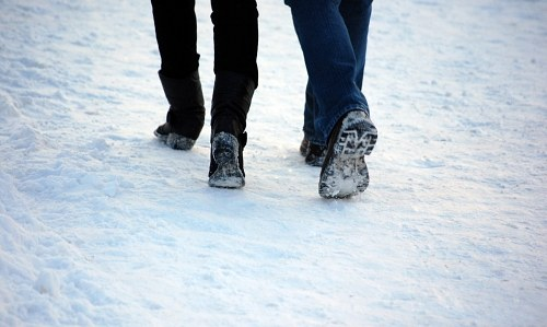 Free photos: Couple walking in snow