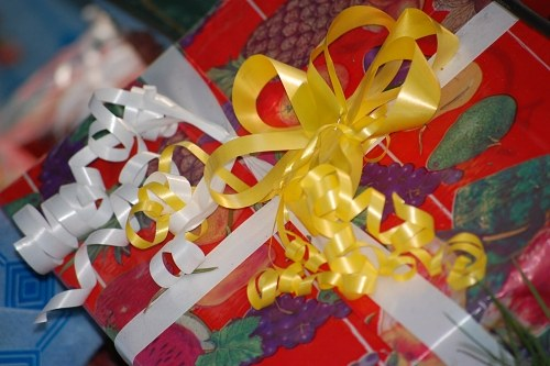 Gifts wrapped in red and yellow