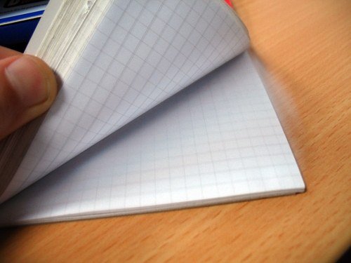 Opened math notebook