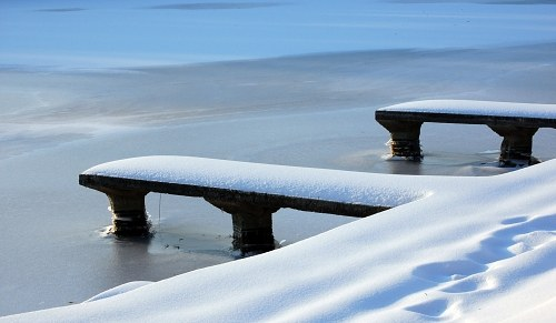 Pontoon covered in snow