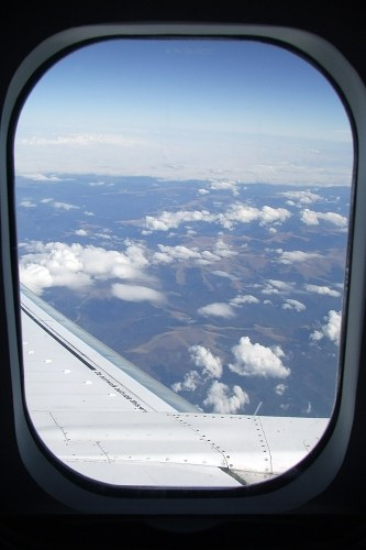View trough airplane window in flight